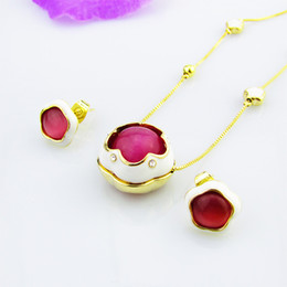 Earrings matching nEcklacEs online shopping - Ladies simp Fashion pendant Necklace Earrings Set alloy Pendant Necklace fllower shape pendant with all match minimalist personality