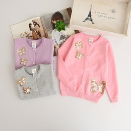 Pulls Tricotant Mignons Pour Filles Pas Cher-Everweekend Girls Cute Butterfly Sweater Cardigans Candy Color Knitted Jackets Pink White et Purple Color Sweater Clothing