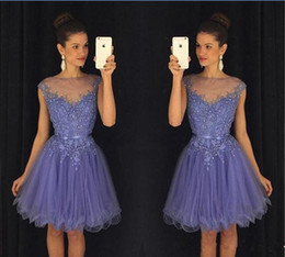 cheap green tutus NZ - Lavender Short Graduation Dresses Lace Beading Cap Sleeves Cheap Homecoming Dress Tutu Skirt Party Gown dress gown