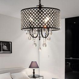 Vintage black iron chandelier online shopping - Nordic American crystal chandelier pendant lighting chain chandelier lighting iron art Living room dining room bedroom light Modern