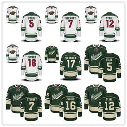 4abefa429 ... Mens Reebok Minnesota Wild 5 Authentic Away NHL Jersey 2017 Minnesota  Wild Hockey 5 Christian Folin 7 Chris Stewart 12 Eric Staal 16 Jason Zucke  ...