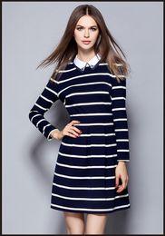 Cute Plus Size Dresses NZ - Women Dress Striped Cotton 2016 New Autumn Winter Dress Cute Trun Down Collar Plus Size A Dresses Long sleeve Slim
