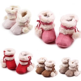 Princesa Invierno Botas Chicas Baratos-Baby Girls Winter Warm Snow Boots Bow Navidad Princess Lace-Up First Walker Niños Double Ball Shoes