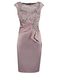 $enCountryForm.capitalKeyWord UK - Jewel Sheath Lace Appliques Peplum Sleeveless Satin Elegant Wedding Dresses Mother's Dresses Knee Length Custom Made