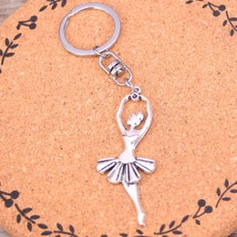 ballerina gifts wholesale NZ - New Fashion ballet dancer ballerina Keychains Antique Silver plated Keyholder fashion Solid Pendant Keyring gift
