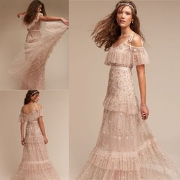Barato Vestido De Noiva De Praia Sem Costas-BHLDN Bohemian Beach Wedding Dresses Sequins Beading Crystals Appliques Bridal Gowns Andar Comprimento Backless Tiered Wedding Dress