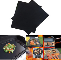 Flat Grill Pan Canada - BBQ Grill Mat Durable Non-Stick Barbecue Mat 40*33cm Cooking Sheets Microwave Oven Outdoor BBQ Cooking Tool