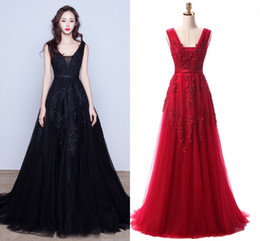 Real image special occasion dResses online shopping - Amazing Wine Red Navy Blue Prom Dresses V Neck Appliques Backless Modest Party Pageant Special Occasion Gowns Cheap In Stock Real Image