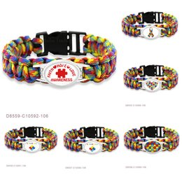 Großhandel Glauben-Hoffnungs-Liebe-Autismus-Vati-Mutter-Bewusstseins-Band-Puzzlespiel-Paracord-Überlebens-Freundschafts-Frauen-Mädchen-Damen-Armbänder