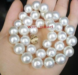 """China Fine Pearl Jewelry 17""""14-16mm REAL natural round south sea white pearl necklace 14K gold cheap real natural south sea pearl suppliers"""