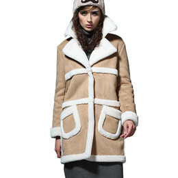 93b3472734f Wholesale- 2017 Long Shearling Sheepskin Suede Cloak Winter Jacket Women  Lapel Thick Warm Women s Coats Overcoat Jaqueta De Couro Feminino