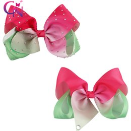 Pinces À Diamant Pas Cher-Jumbo Rhinestone Hair Bow avec Clip Diamond Hair Bow pour Girl Kids Pastel Rainbow Hair Bow