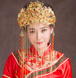 Crown Beautiful Bride Canada - Beautiful Ancient costume headdress Chinese style bride wedding crown XT10057