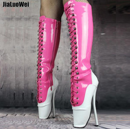 Boots 18cm Heels Canada - 18cm heel pink Women Zipper High Heeled Ballet Boots Men fetish Knee high boot sexy SM queen shoes Lace-up mixed color