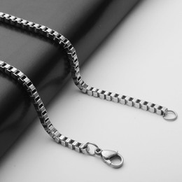 bike chain necklace men Canada - Stainless Steel Box Bike Chains Of 3MM 50cm Link Chain Fashion Pendant Necklace Chain For women and Men
