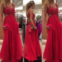 V cut bra online shopping - Beaded Top Fuchsia Red Prom Dresses Cut Out Side Spaghetti Straps Bra Back Long Chiffon Skirts For Holiday Evening Party Wear