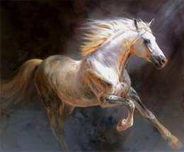 $enCountryForm.capitalKeyWord UK - Framed, Lots Wholesale ,R327#,Animal Portrait runing white horse, Pure Handpainted Wall Decor Art Oil Painting Multi Sizes can be customized