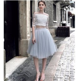 Coutume D'automne Pas Cher-Pale Grey 5 couches Tulle Jupe style mode haute qualité personnalisé Tutu Femmes Automne Style High Waisted Ball Gown