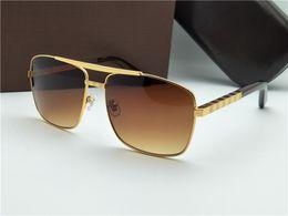 Nouvelle mode classique lunettes de soleil attitude lunettes de soleil or cadre carré métal cadre style vintage design extérieur classique modèle 0259