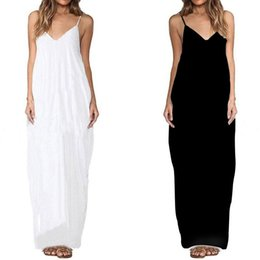 cf1bddcc6801 2017 Summer V-neck Spaghetti Strap Boho Women Oversize Maxi Dress Solid Loose  Beach Casual Chiffon Long Dresses