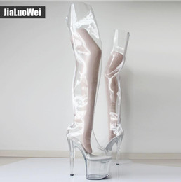 clear transparent heels Canada - Free Shipping Women Extreme 20cm Heels +9CM Platform Clear PVC Over-Knee High Boots Sexy Fetish Fashion Show Transparent Crotch Boots botas