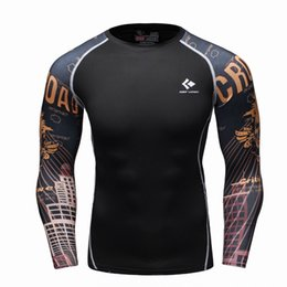 China Wholesale- Mens Compression Long sleeve Breathable Quick Dry T Shirts Bodybuilding Weight lifting Base Layer Fitness Tight Tops T-shirt cheap weight silver suppliers