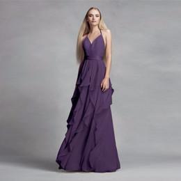 Purple Halter Formal Evening Dresses Canada - 2019 NEW! Chiffon Purple Halter Neckline Bridesmaid Dress with Cascading Skirt VW360326 Wedding Party Dress Evening Dress Formal Dresses