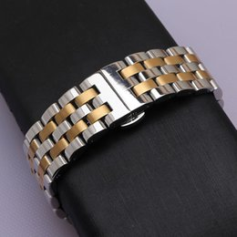 22mm curved end stainless steel online shopping - Silver and gold color Watchbands Strap Bracelet Watch accessories belt replacement curved end straighe end new men mm mm mm mm mm