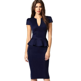 Robe De Tunique Pas Cher-Nice Womens Peplum Elegant Sexy Deep V Neck Cap Sleeve Tunique Slim Casual Party Club Clubwear Bodycon Gaine Robe crayon