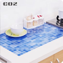 Plastic Bathroom Tiles NZ - Wholesale- Bathrooms PVC mosaic tile wall paper kitchen vinyl wall stickers waterproof tickers Plastic wall decals self adhesive wallpaper