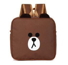 Barato Moda Meninas Coreano Meninas-Cute Cartoon Korea Brown Bear Kids Mochila School Bag Pack Oxford Waterproof Schoolbag Crianças Alunos Boys Girls Fashion Square Bag