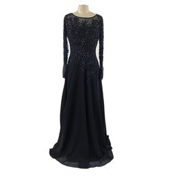 Barato Longas Dreses Barato-2017 New Sexy Mother Of Bride Dresses Manga comprida Lace Appliques Beads Andar Comprimento Navy Blue Chiffon Cheap Noiva Casal Visitante Dreses