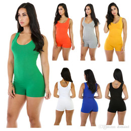 Pantalons Femme Pantalons Sexy Pas Cher-2017 New Fashion Women Summer Casual Shorts Siamois Solids Bodysuit Rompers Jumpsuit Sexy Sans Manches Backless Short Pant