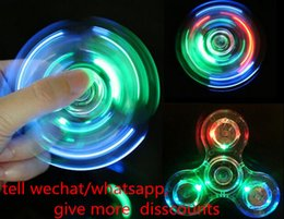 Chinese  In stock Cheapest Fidget Spinner LED Luminous Glitter led Hand Spinner Transparent Fidget handspinners Desk Focus Toy EDC Gyro hand spinners manufacturers