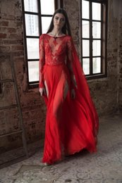 Sexy Long High Slit Dresses Canada - Sexy High Slit Red Chiffon Evening Dresses See Through Lace Appliques Sheer Long Sleeves Formal Party Dress Prom Robe De Soiree