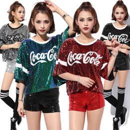 Barato Trajes De Dança Em Lantejoulas-Stage Wear Nightclub Disfraces DS Realizam Jazz Dance Song New Hip-hop Vestuário Cola Sequined Tops Tshirt