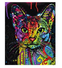 paintings for Canada - Colorful Cat DIY Painting By Numbers Abstract Modern Wall Art Picture Kits Coloring Painting By Numbers For Home Decor