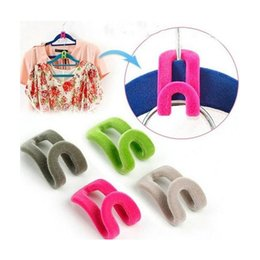 Hanger Clothes Save Space Australia - Creative Flocking Clothes Hanger Easy Hook Wardrobe Space Save Magic Flock Clothes Hanger Rack Hooks Non-slip