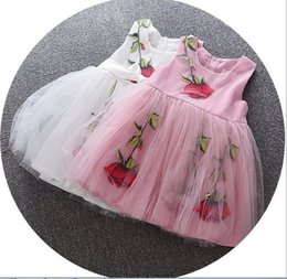 $enCountryForm.capitalKeyWord NZ - 5pcs lot hot 2017 Summer Baby Girl lace flower sleeveles Dress Infant Floral Princess party veil Tutu Dress Children's Dresses kids Clothing