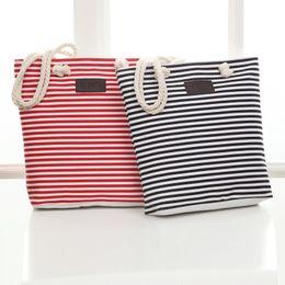 Chinese  Women Beach Canvas Bag Fashion Color Stripes Handbags Ladies Large tote handbag Totes Casual Bolsa drawstring Bags manufacturers