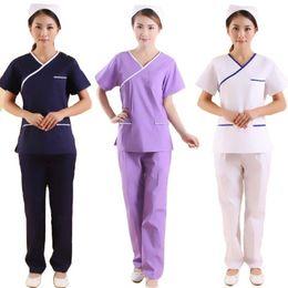 Wholesale scrub pants for sale – denim Women short sleeve Scrub Sets Mock Wrap V Neck Tops and Pants Beautician work clothes Dental work coat
