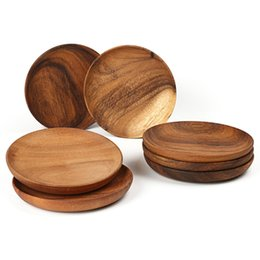 Wholesale Natural Wood Sushi Platter Dish Plate Dessert Biscuits Plate Dish Tea Server Tray Wooden Cup Holder Pad