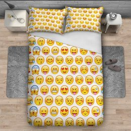 3d bedding set wholesale NZ - Eco-Friendly 3D Print 2 Pieces Pillowcases and 1 Pieces Duvet Cover 3D Emoji Print 3 Pieces Bedding Sets For Housewear