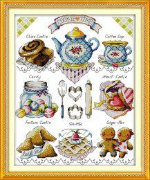 Wholesale shop cookies for sale – custom Tea cake dessert cookie shop cartoon paintings Handmade Cross Stitch Embroidery Needlework sets counted print on canvas DMC CT CT