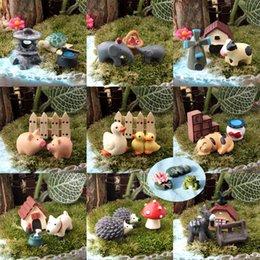 30 pcs / 10 conjunto animais miniaturas estatuetas pato cogumelo cães porco resina artesanato casa de bonecas bonsai decoração terrário decoracion jardin venda por atacado