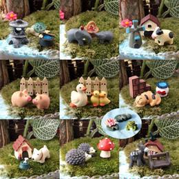 Ingrosso 30 pz / 10 set animali miniature figurine anatra funghi cani maiale mestiere della resina casa delle bambole bonsai decor terrarium decoracion jardin