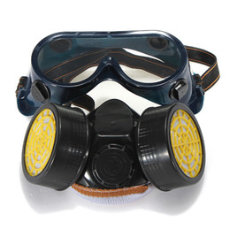 $enCountryForm.capitalKeyWord UK - Freeshipping Dual Anti-Dust Spray Paint Industrial Chemical Gas Respirator Mask Glasses Set Black