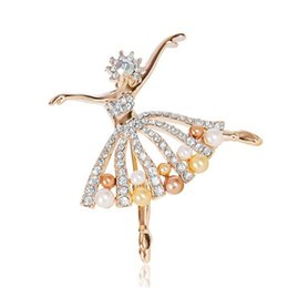east indian accessories Canada - Trendy Flower Girl Jewelry Gold-Tone Clear Crystal Dancing Ballet Girl Art Deco Accessory Brooch Pin