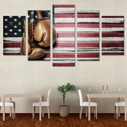 Picture Boxes Canada - 5 Pcs Set Framed HD Printed Boxing Pride Flag Picture Wall Art Canvas Print Poster Artworks Modern Canvas Oil Painting
