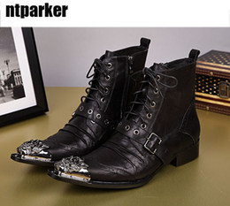 $enCountryForm.capitalKeyWord Canada - Western Boots Men Cowboy Black Genuine Leather Men Boots Black Metal Tip Toe Motorcycle Ankle Boots Man Botas Militares, Big US6-12, EU38-46